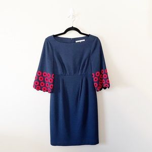 Trina Turk Navy Red Embroidered Daisy Sleeve Dress